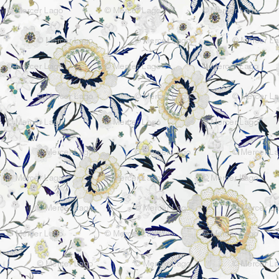 Blue yellow floral blue yellow flowers indigo floral chinoiserie blue floral fall floral