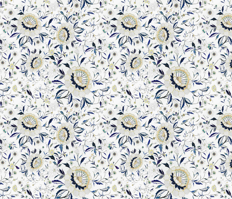 Blue yellow floral blue yellow flowers indigo floral chinoiserie blue floral fall floral fabric by jenlats on Spoonflower - custom fabric