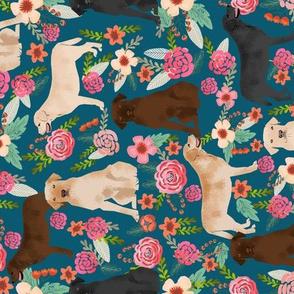 labradors florals fabric railroad