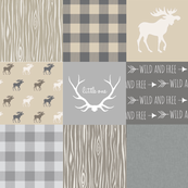 Rustic Woodland Wholecloth Patchwork Quilt - tan and grey - light linen texture