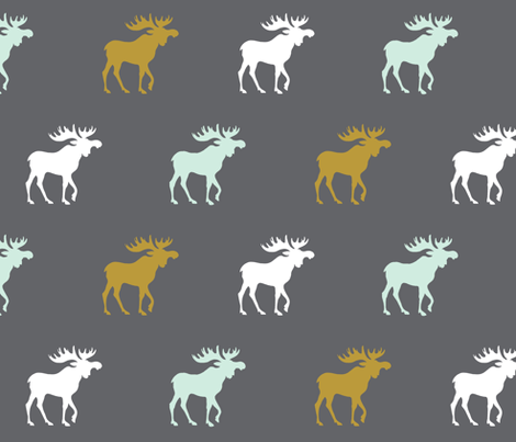 moose - gold, mint green, white on dark gray fabric by sugarpinedesign on Spoonflower - custom fabric