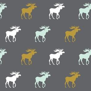 moose - gold, mint green, white on dark gray