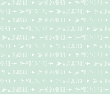 Wild and Free Arrows -- mint green and white fabric by sugarpinedesign on Spoonflower - custom fabric