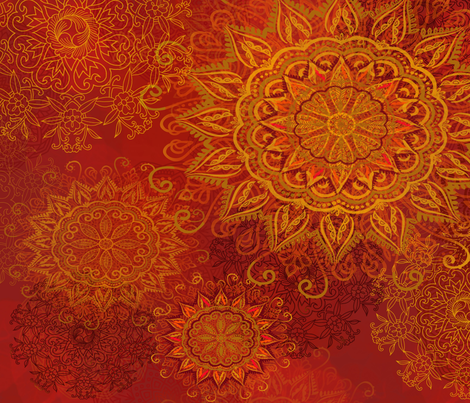 Mandala Fire Glow fabric by honoluludesign on Spoonflower - custom fabric