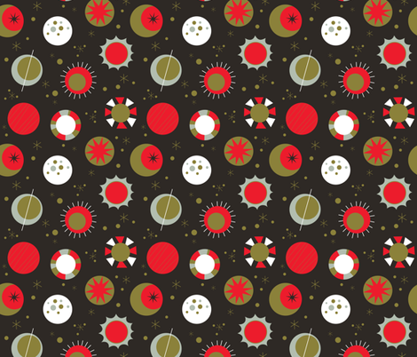 Celestial Mod- Red and Black fabric by mintgreensewingmachine on Spoonflower - custom fabric