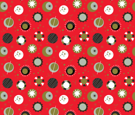 Celestial Mod- Red fabric by mintgreensewingmachine on Spoonflower - custom fabric