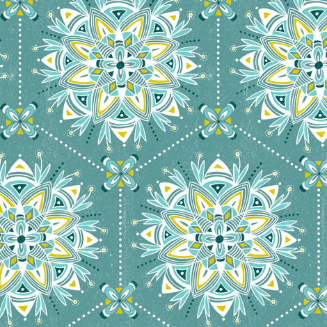 Wanderling - Boho Mandala Geometric Teal fabric by heatherdutton on Spoonflower - custom fabric