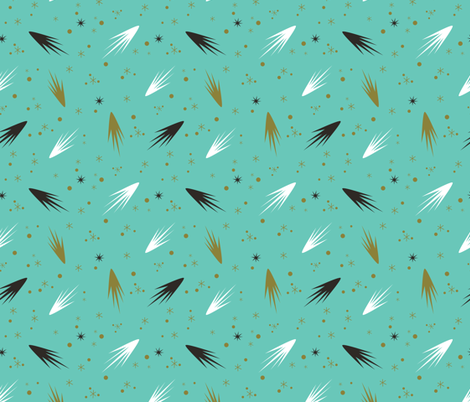 Comets- Teal fabric by mintgreensewingmachine on Spoonflower - custom fabric