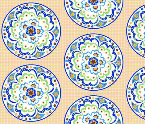 1960's Mandala; Large Scale fabric by vanillabeandesigns on Spoonflower - custom fabric