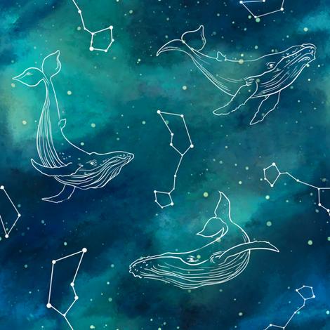 whale stars fabric by torysevas on Spoonflower - custom fabric