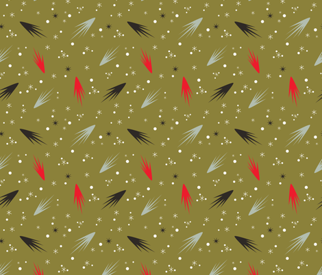 Comets- Gold fabric by mintgreensewingmachine on Spoonflower - custom fabric