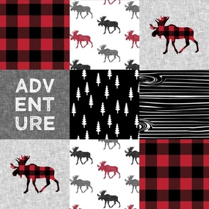 Adventure Patchwork Buffalo Plaid Woodland Moose