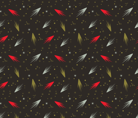 Comets- Black and Red fabric by mintgreensewingmachine on Spoonflower - custom fabric