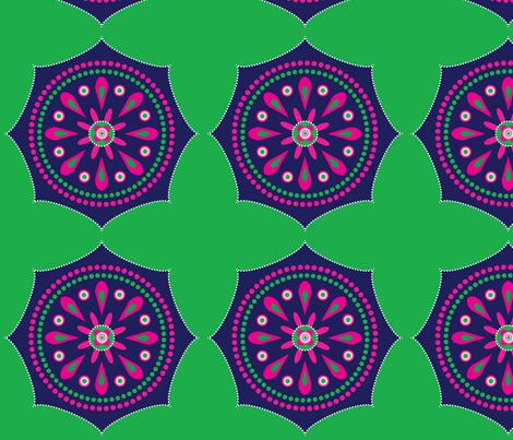 Mandala_blue_pink_green5 fabric by boxwood_press on Spoonflower - custom fabric