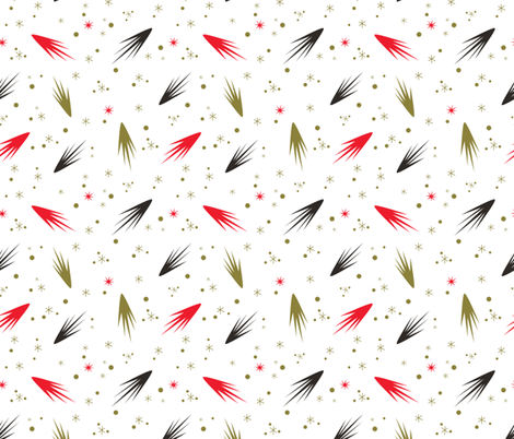 Comets- White and Red fabric by mintgreensewingmachine on Spoonflower - custom fabric