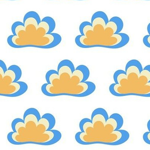 Happy Clouds on White