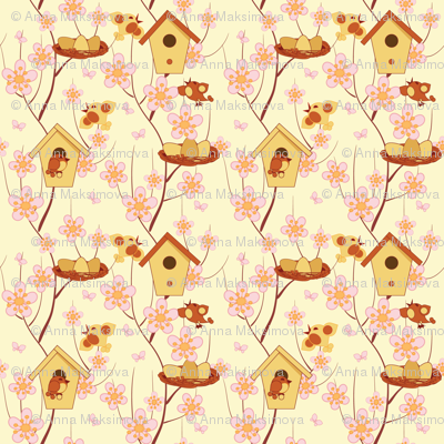 birdhouses, birds and flowering branches