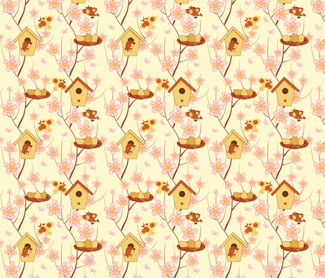 birdhouses, birds and flowering branches fabric by minyanna on Spoonflower - custom fabric