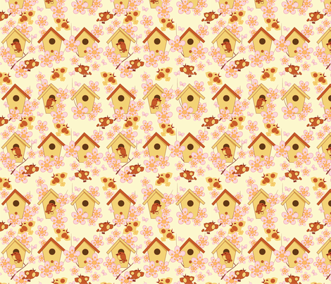 Easter background with birdhouses fabric by minyanna on Spoonflower - custom fabric