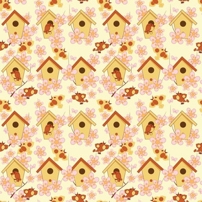 Easter background with birdhouses