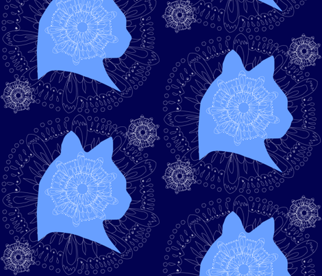 Cat Mandala fabric by sixsie_lou on Spoonflower - custom fabric