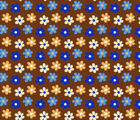 Mandala Daisies Chocolate fabric by vanillabeandesigns on Spoonflower - custom fabric