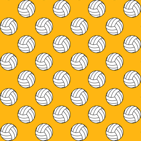 One Inch Black and White Volleyballs on Yellow Gold fabric by mtothefifthpower on Spoonflower - custom fabric