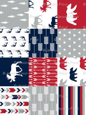 Woodland Patchwork Blanket Moose and Bear (90) || navy, red,happy camper red
