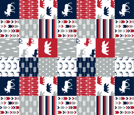 Woodland Patchwork Blanket Moose and Bear (90) || navy, red,happy camper red  fabric by littlearrowdesign on Spoonflower - custom fabric