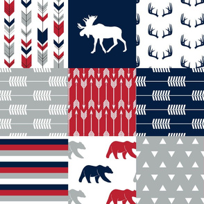 Woodland Patchwork Blanket Moose and Bear  || navy, red,happy camper red