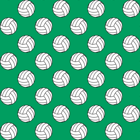 One Inch Black and White Volleyballs on Shamrock Green fabric by mtothefifthpower on Spoonflower - custom fabric