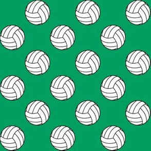 One Inch Black and White Volleyballs on Shamrock Green