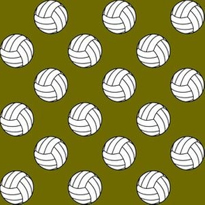 One Inch Black and White Volleyballs on Olive Green