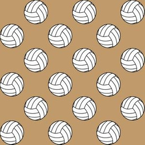 One Inch Black and White Volleyballs on Camel Brown