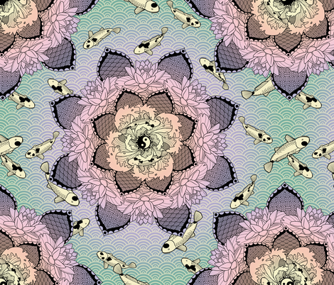 Zen Pond Mandala fabric by bliss_and_kittens on Spoonflower - custom fabric