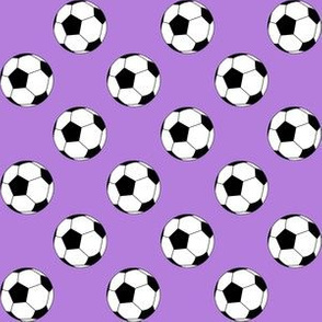 One Inch Black and White Soccer Balls on Lavender Purple