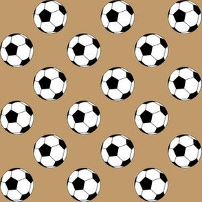 One Inch Black and White Soccer Balls on Camel Brown