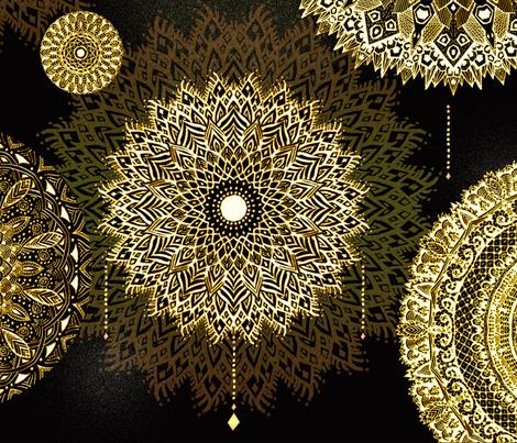 Golden Mandala by Artninus fabric by artninus on Spoonflower - custom fabric