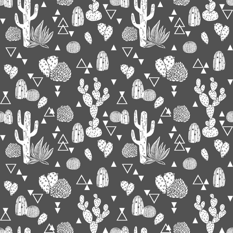 cactus fabric // grey charcoal cactus design fabric by andrea_lauren on Spoonflower - custom fabric
