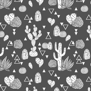 cactus fabric // grey charcoal cactus design