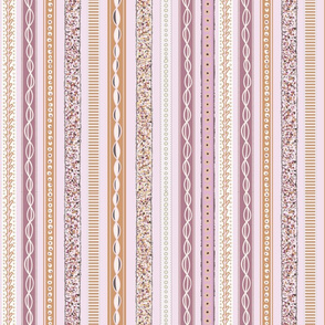 Ribbons Seamless Repeating Pattern on Pink