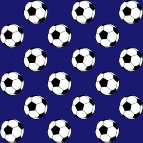 One Inch Black and White Soccer Balls on Midnight Blue