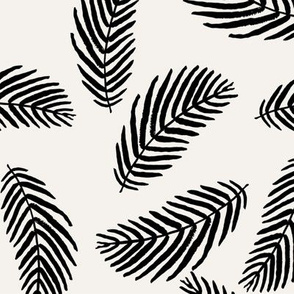 palms fabric - black and cream palm fabric