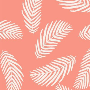 coral palm print tropical summer palms fabric