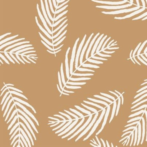 palm print fabric neutral khaki nursery design