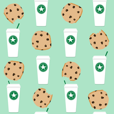 coffee and cookies fabric mint coffee fabric fabric by charlottewinter on Spoonflower - custom fabric