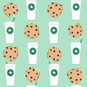 coffee and cookies fabric mint coffee fabric