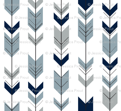 Fletching arrows (navy, rustic woods blue, grey)- wholecloth coordinate