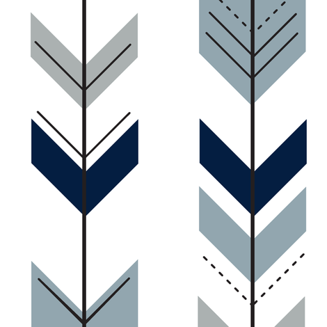 Fletching arrows (navy, rustic woods blue, grey)- wholecloth coordinate fabric by littlearrowdesign on Spoonflower - custom fabric