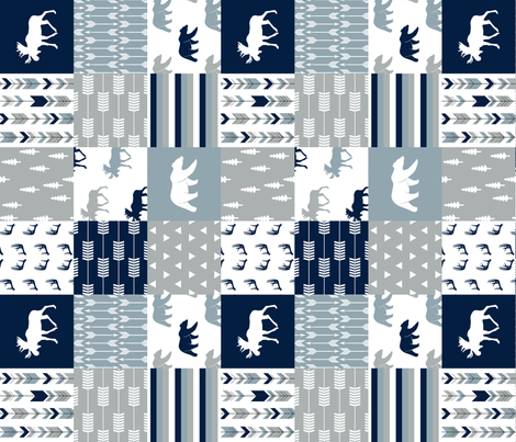 Woodland Wholecloth (moose and bear) 90 || navy, rustic woods blue, grey fabric by littlearrowdesign on Spoonflower - custom fabric